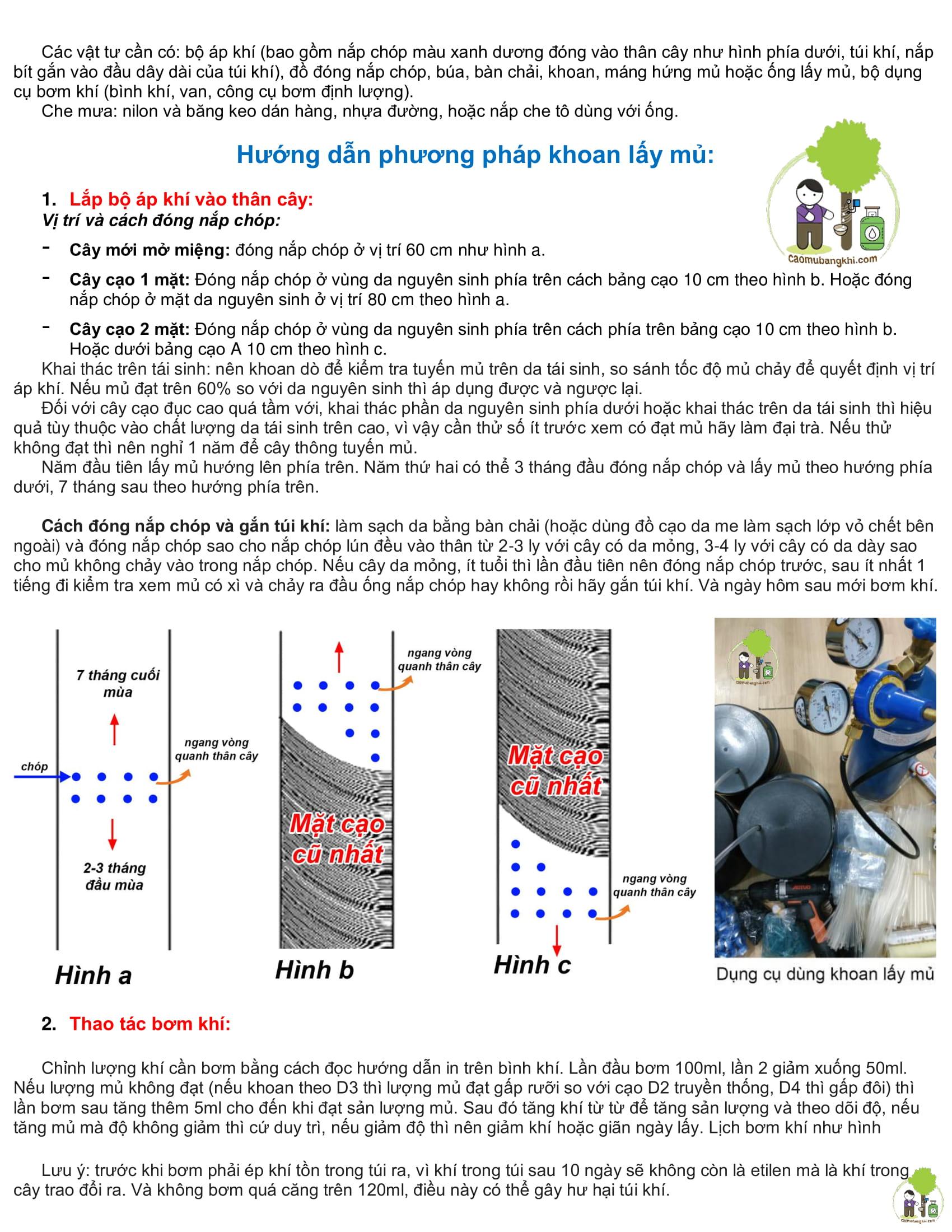 hướng dẫn quy trình khoan và cạo mủ bằng khí